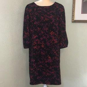 Antonio Melani Black Print Shift Dress Size 14
